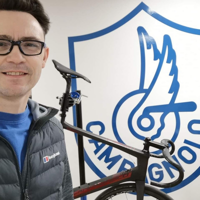 Paul from Just One More Bike training at Campagnolo