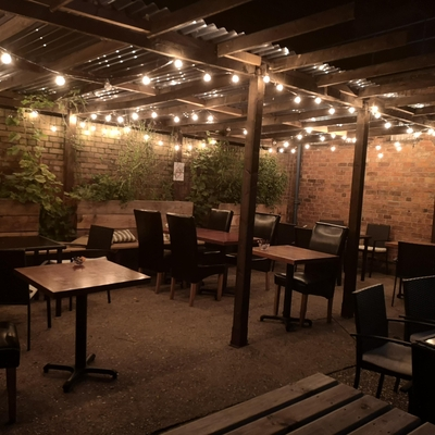 Outside seating at night